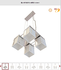 餐厅四方格吊灯3d模型