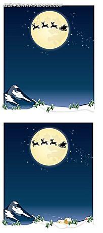 圣诞乡村雪景夜景背景卡片