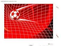 进网的足球手绘画