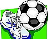足球足球鞋手绘图形
