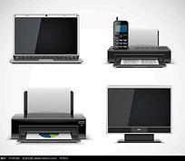 笔记本电脑打印机传真机台式电脑手绘图形图标