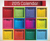 多彩方框背景2015年日历设计