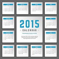 简洁大气蓝色2015年日历设计