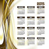 金色曲线曲面背景2015年日历设计