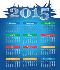 蓝色背景2015年日历
