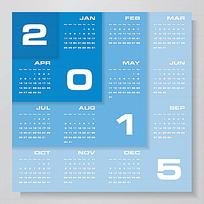 蓝色叠卡效果2015年日历