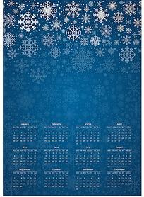 蓝色雪花背景2015年日历