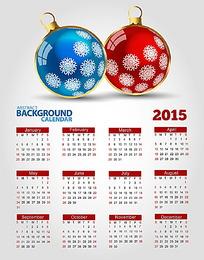 圣诞球背景2015年日历