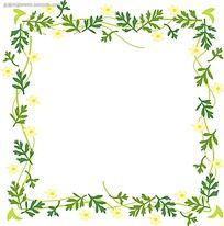 小黄花绿叶花边边框