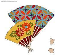 日本樱花浮世绘扇子插画