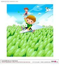 坐着纸飞机的小孩矢量插画