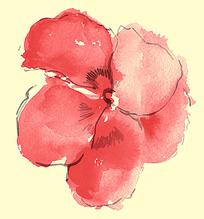 红色水墨花朵psd素材