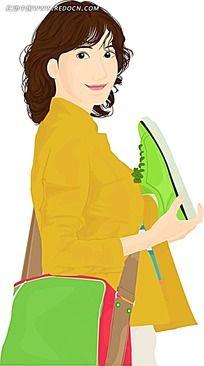 挎着绿色斜挎包的女孩韩国时尚图片