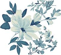 墨蓝色水墨花朵psd素材