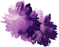 紫色随意水墨花朵psd素材