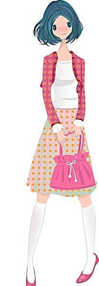 拿着粉色挎包的女生韩国时尚图片