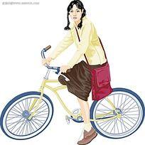 骑着单车扎着小辫子的女孩韩国时尚图片