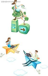 坐在纸船上的情侣时尚矢量人物插画