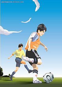 踢足球的小孩子矢量人物插画