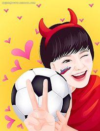 足球恶魔少女时尚矢量人物插画
