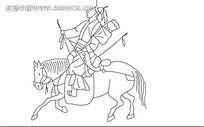 骑马狩猎的古代小人韩国矢量人物漫画