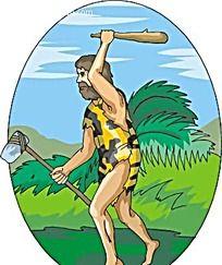 出去狩猎的洞穴人矢量人物插画