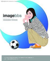 蹲着的足球宝贝矢量人物插画