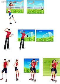 踢足球的情侣卡通人物插画