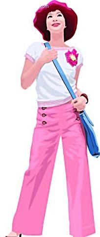 背着挎包的女孩子矢量人物插画