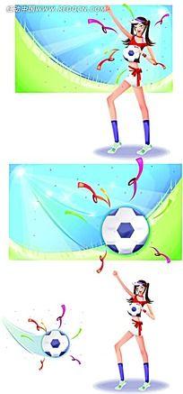 踢足球的女孩子时尚矢量人物插画