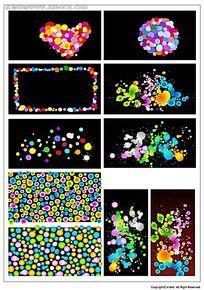彩色圆点韩国系列水墨底纹