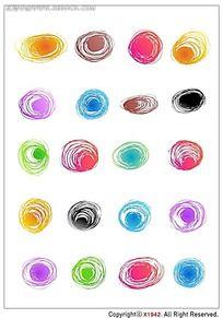 彩色圆珠笔迹韩国系列水墨底纹