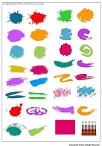 随意彩色笔刷韩国系列水墨底纹