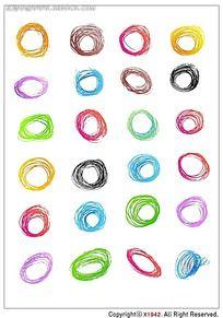 圆珠笔圆圈韩国系列水墨底纹
