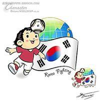 顶足球的小男孩韩国矢量人物插画
