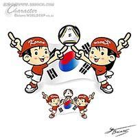 花式韩国足球小人矢量人物插画