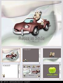 开汽车的3D卡通人物图片背景PPT