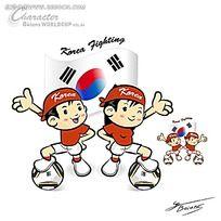 伸出手掌的足球小子韩国矢量人物插画