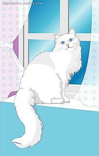 在窗台上的白色小猫卡通矢量人物漫画