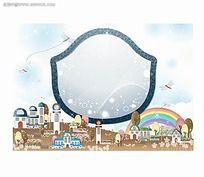 蜻蜓蓝天房子卡通卡通彩色边框