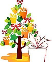 礼物盒子边框卡通树卡通插画
