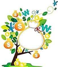 钱袋子空白边框卡通树卡通插画