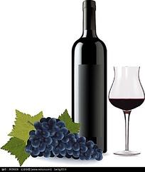 高档葡萄酒高脚杯矢量素材