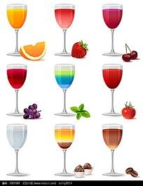 装满各种酒的精美高脚杯矢量素材