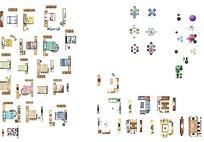 彩色平面图室内家具素材