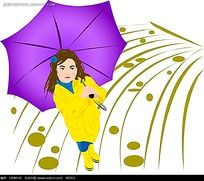 下雨打伞的女人矢量素材