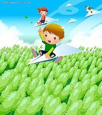 坐飞机的小朋友PSD插画