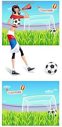 足球韩国宝贝人物插画