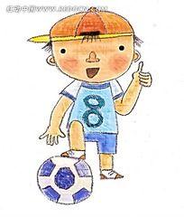竖起大拇指踢足球的小男孩卡通插画