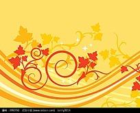 动感线条和树叶矢量背景